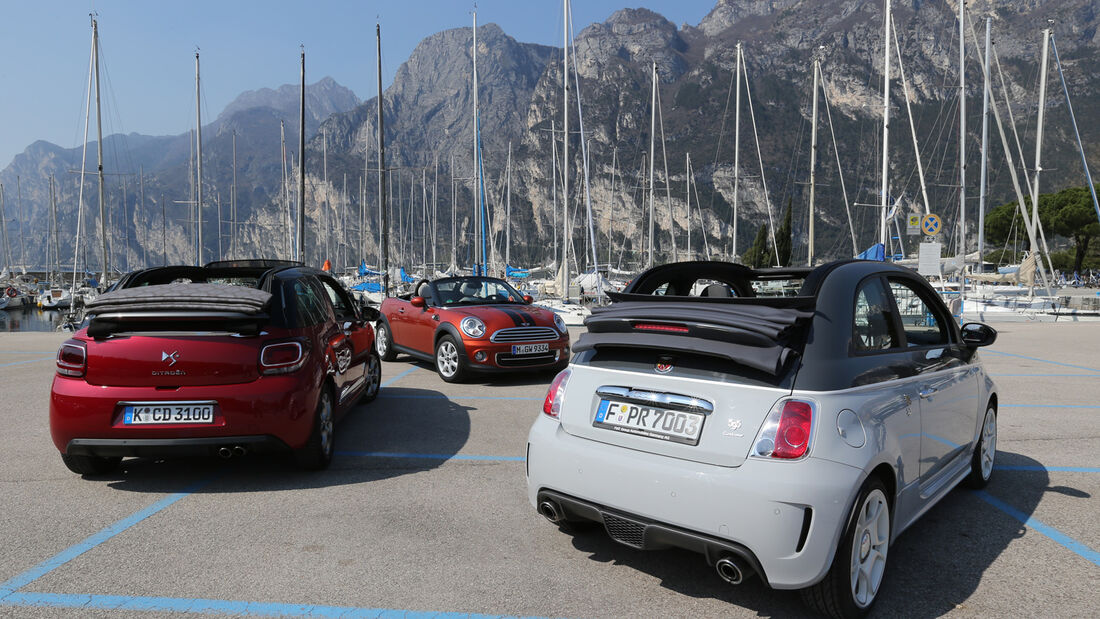 Abarth 595C, Citroën DS3, Mini Roadster, Heckansicht