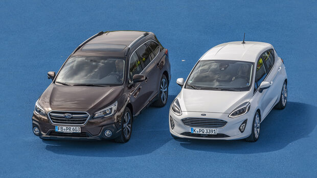 Abstandstempomat: Subaru Outback gegen Ford Fiesta