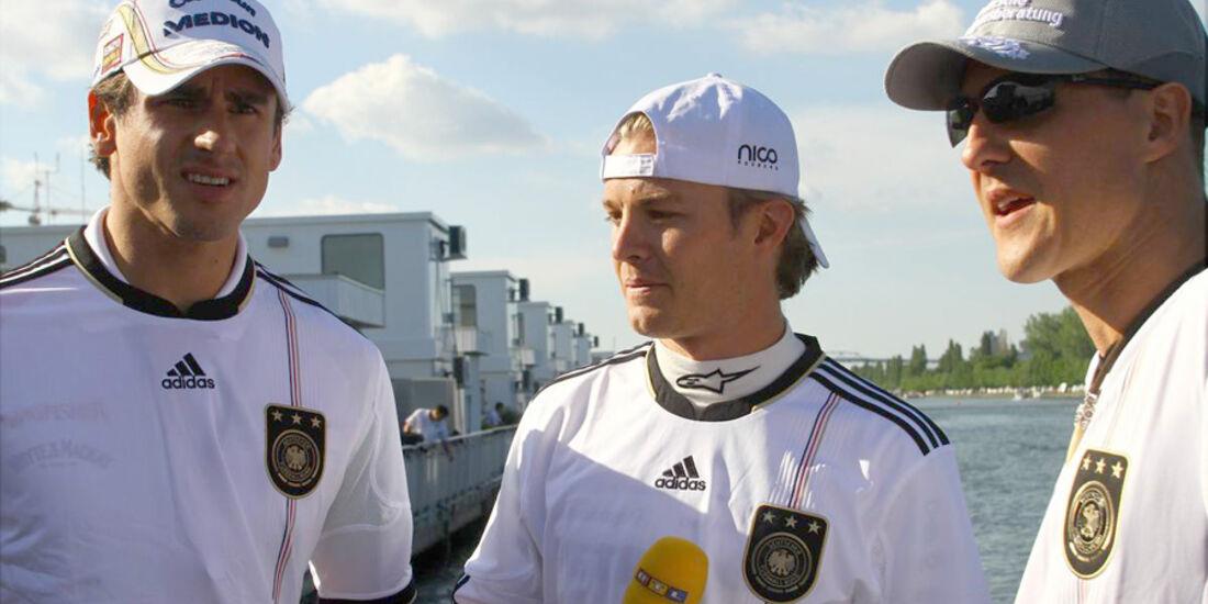 Adrian Sutil, Michael Schumacher und Nico Rosberg