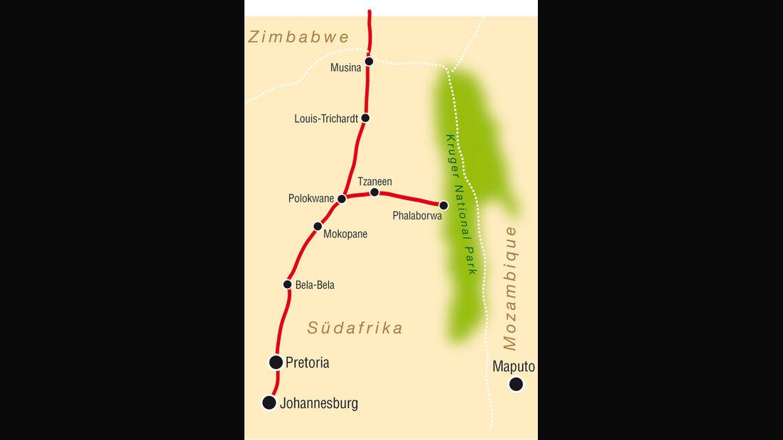 Afrika, Toyota Land Cruiser, Karte