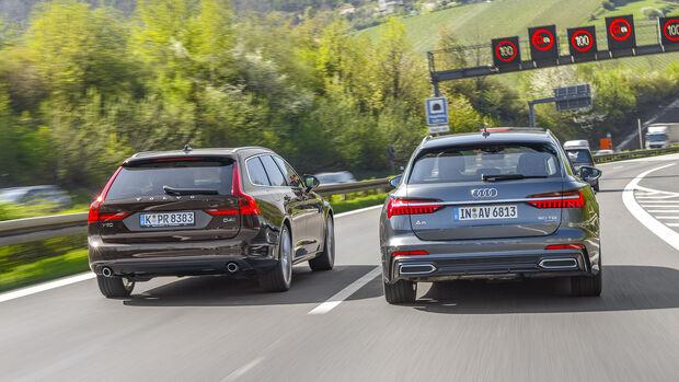 Aktive Tempolimit-Übernahme: Audi A6 gegen Volvo V90