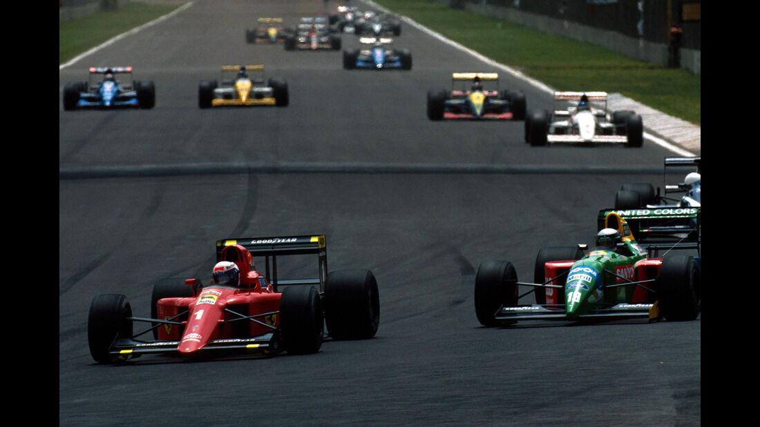 Alain Prost - Ferrari 641 - Allesandro Nannini - Benetton - GP Mexiko 1990
