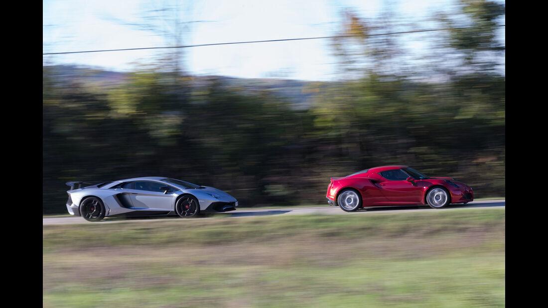 Alfa 4C, Lamborghini Aventador LP750  SV, Seitenansicht
