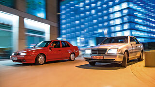 Alfa Romeo 155 2.0 Twin Spark, Mercedes C 180, Frontansicht
