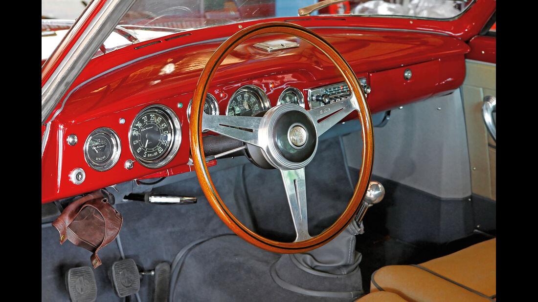 Alfa Romeo 1900 Sprint Coupé Pinin Farina, Lenkrad, Rundinstrumente