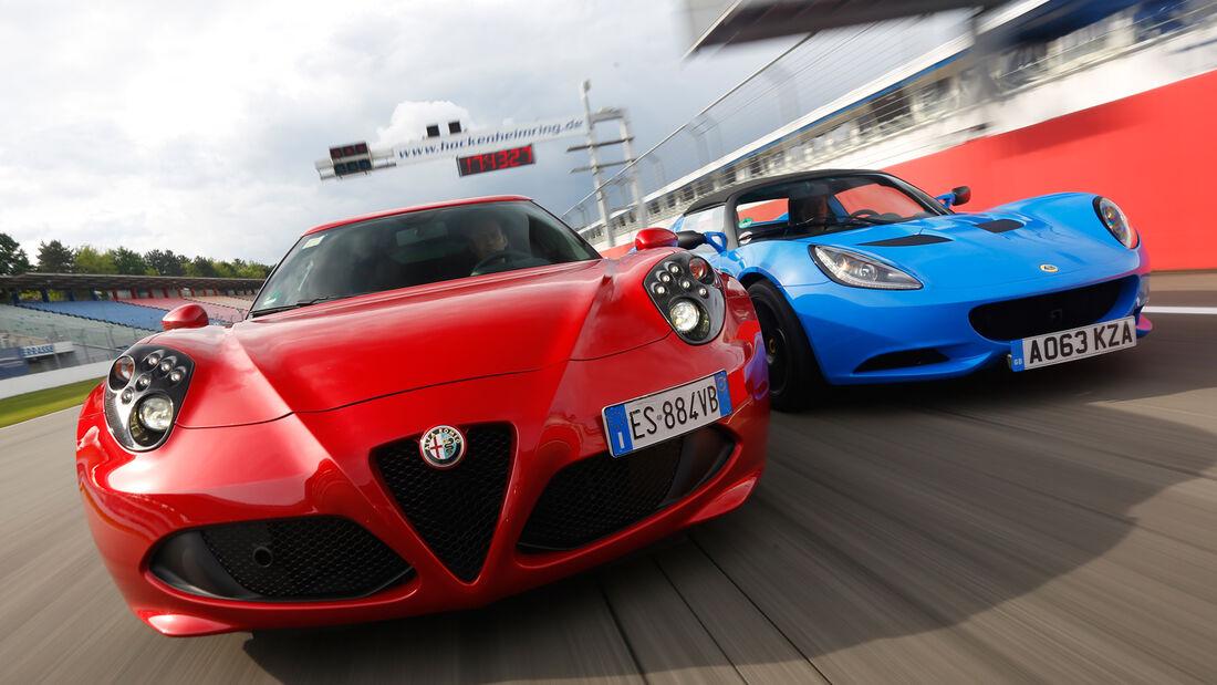 Alfa Romeo 4C, Lotus Elise S Club Racer, Frontansicht