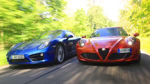 Alfa Romeo 4C, Porsche Cayman S, Frontansicht