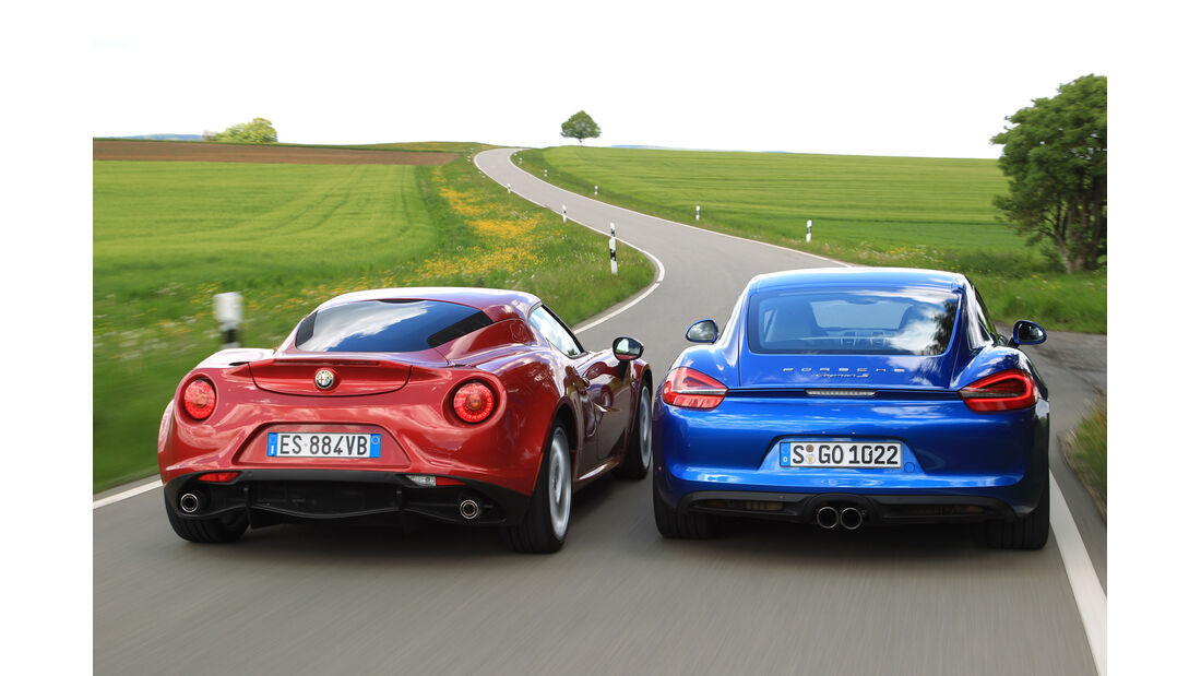 Alfa Romeo 4C, Porsche Cayman S, Heckansicht