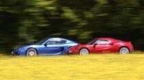 Alfa Romeo 4C, Porsche Cayman S, Seitenansicht