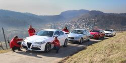 Alfa Romeo Giulia 2.2 D, Audi A4 2.0 TDI, BMW 320d, Mercedes C 250 d