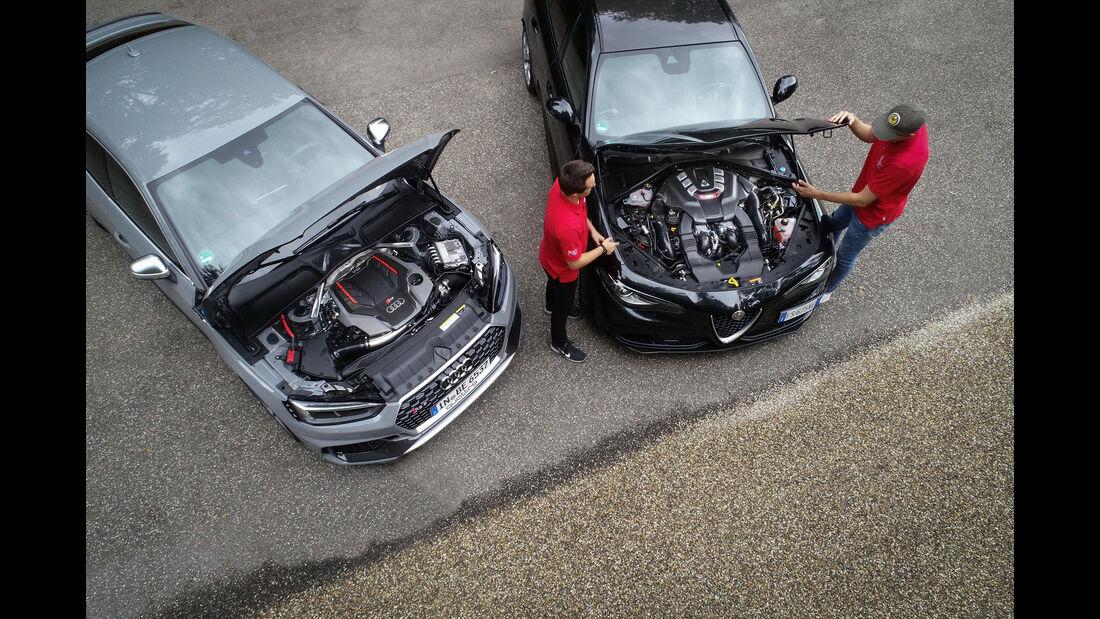 Alfa Romeo Giulia QV, Audi RS 5 Sportback, Motorraum