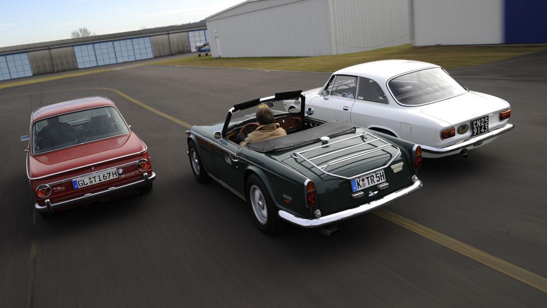 Alfa Romeo Giulia Sprint GT, BMW 1600 ti, Triumph TR 5 PI
