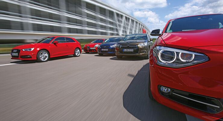 Alfa Romeo Giulietta 1.4 TB, Audi A3 1.8 TFSI, BMW 118i, Citroën DS4 THP 200, Ford Focus 1.6 Ecoboost, Frontansicht