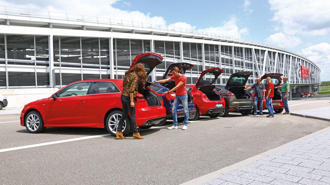 Alfa Romeo Giulietta 1.4 TB, Audi A3 1.8 TFSI, BMW 118i, Citroën DS4 THP 200, Ford Focus 1.6 Ecoboost, Heckklappe