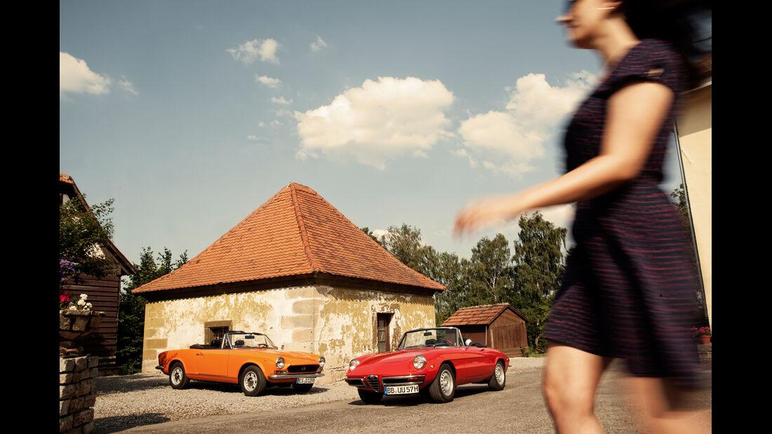 Alfa Spider 1750 Veloce, Fiat 124 Sport Spider, Frontansicht