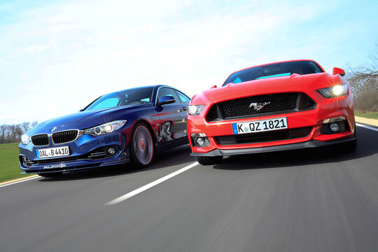 Alpina B4 Biturbo Coupé, Ford Mustang GT 5.0 Fastback, Frontansicht