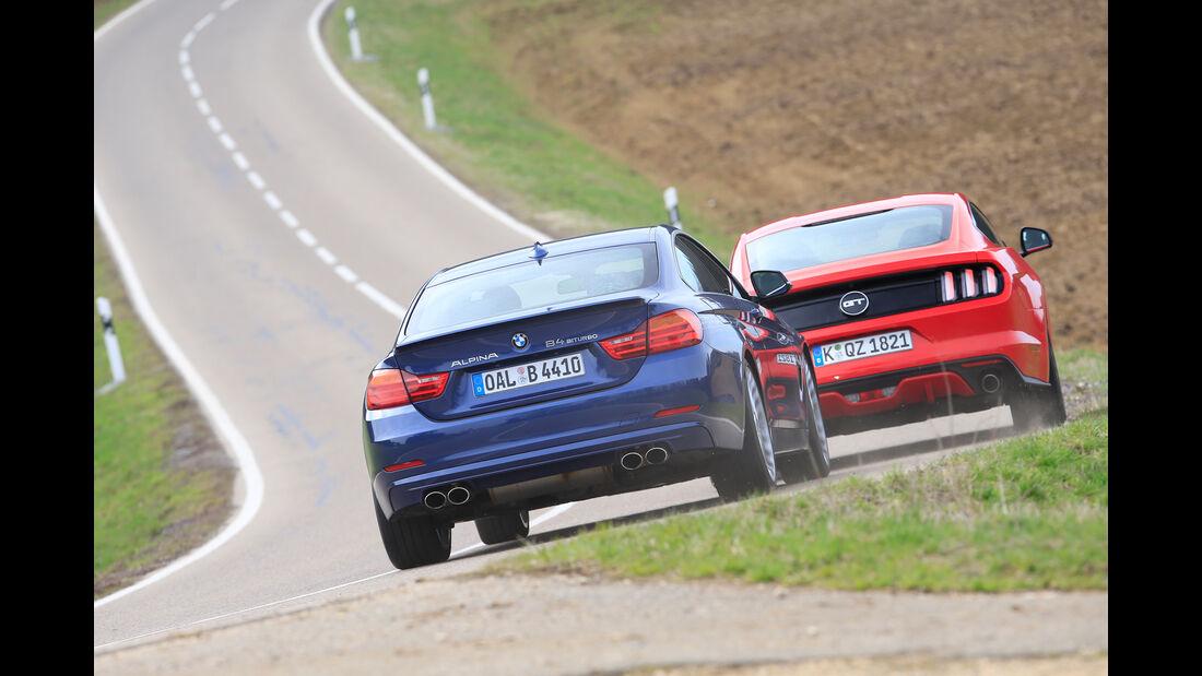 Alpina B4 Biturbo Coupé, Ford Mustang GT 5.0 Fastback, Heckansicht
