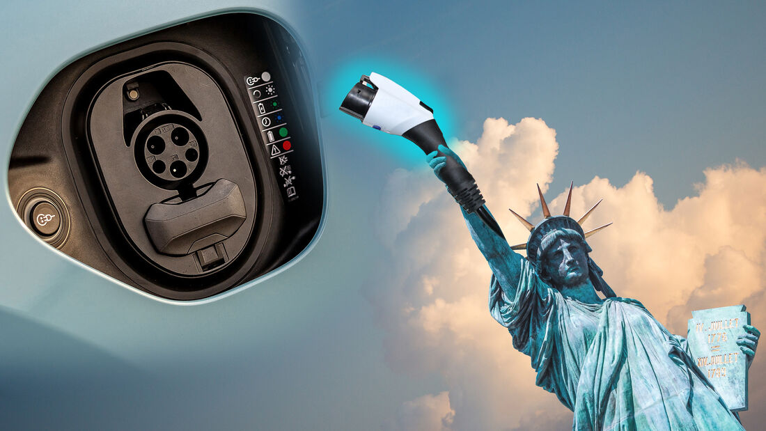 Amerika New York Elektrifizierung Elektro Freiheitsstatue Collage Stecker Buchse