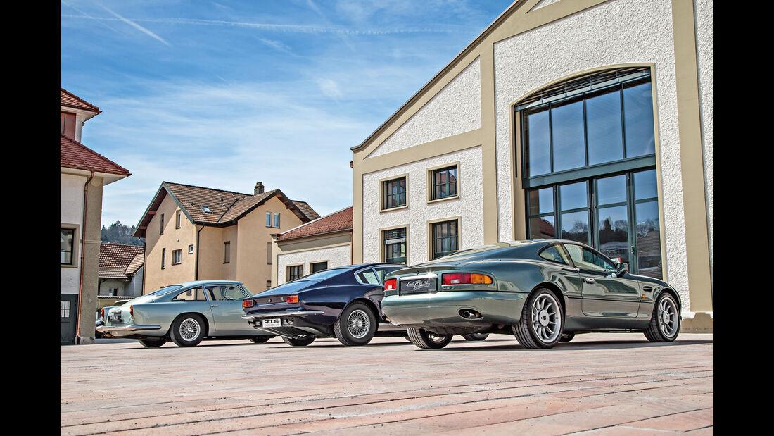 Aston Martin DB4 Vantage, DBS, DB7, Heckansicht