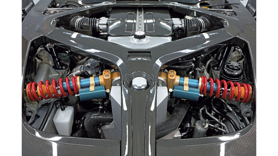 Aston Martin One-77, Motorraum, Push Rods, Dämpfer