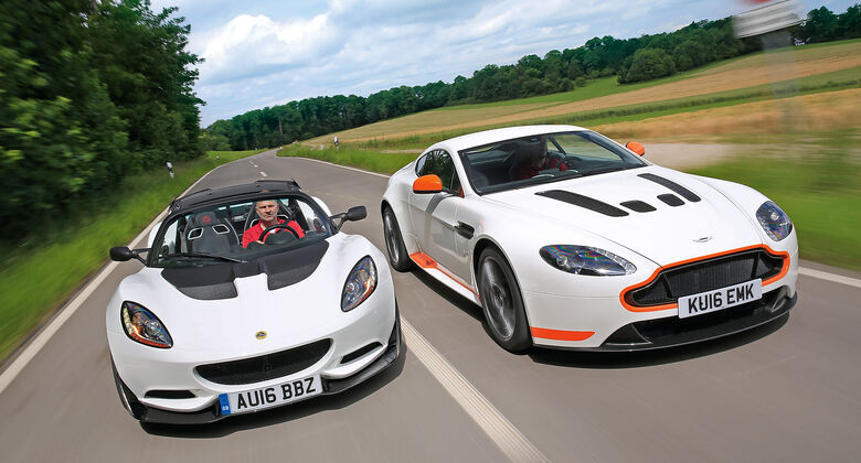 Aston Martin V12 Vantage S, Lotus Elise Cup 250, Frontansicht