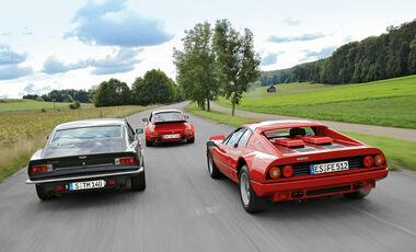 Aston Martin V8 Vantage, Ferrari 512 BBi, Porsche Turbo 3.3