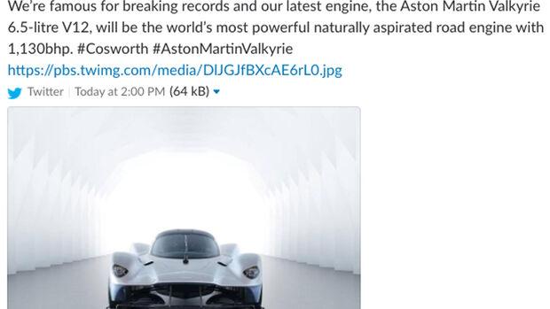Aston Martin Valkyrie - Cosworth - Tweet - 22.8.2018