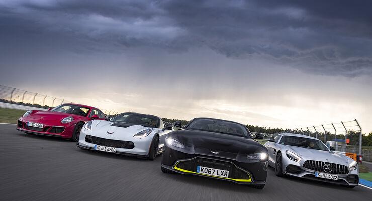 Aston Martin Vantage Corvette Amg Gt S Und 911 Gts Im Test Auto Motor Und Sport