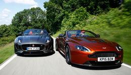 Aston Martin Vantage S, Jaguar F-Type R AWD Cabriolet, Frontansicht