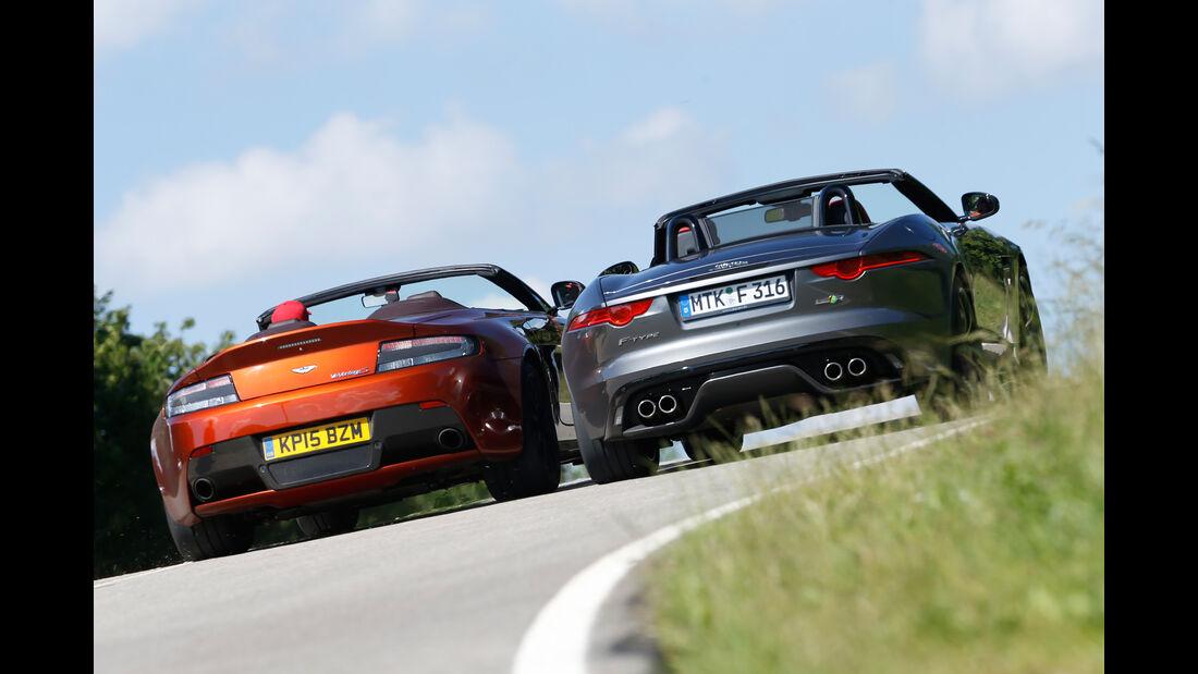 Aston Martin Vantage S, Jaguar F-Type R AWD Cabriolet, Heckansicht