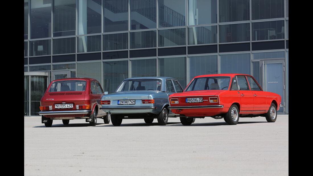 Audi 100 LS, VW 411 LE, VW K 70 L, Heckansicht