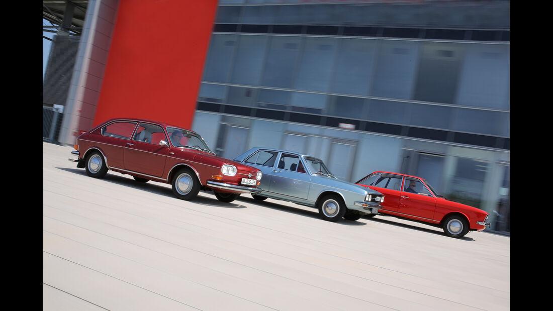 Audi 100 LS, VW 411 LE, VW K 70 L, Seitenansicht