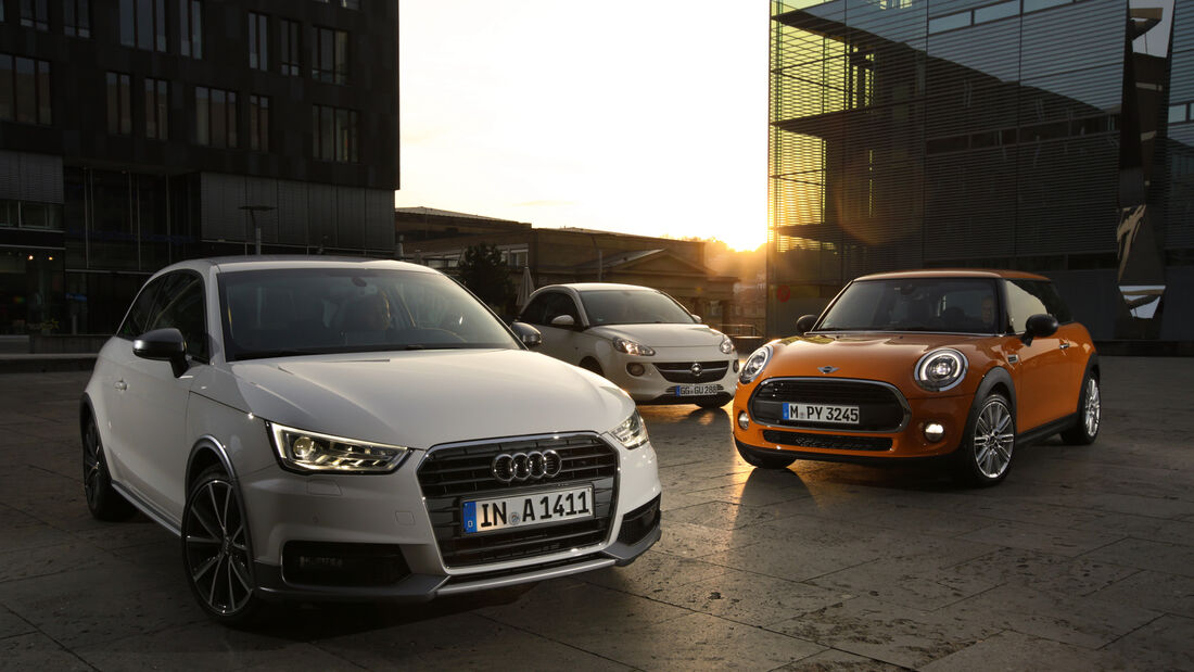 Audi A1 1.0 TFSI, Mini One, Opel Adam 1.0 DI Turbo, Frontansicht
