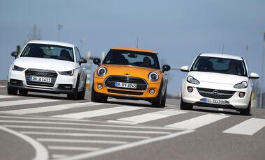 Audi A1 1.0 TFSI, Mini One, Opel Adam 1.0 DI Turbo, Frontansicht
