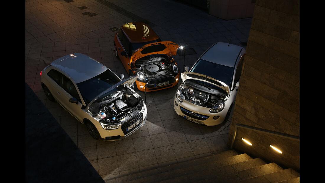 Audi A1 1.0 TFSI, Mini One, Opel Adam 1.0 DI Turbo, Motoren