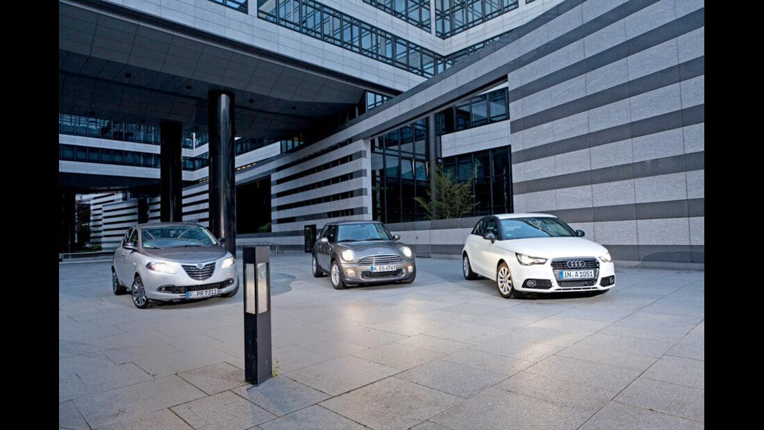 Audi A1 1.2 TFSI, Lancia Ypsilon 0.9 Twinair, Mini One, Front, Scheinwerfer