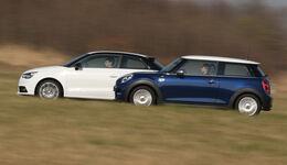 Audi A1 1.4 TFSI, Mini Cooper, Seitenansicht