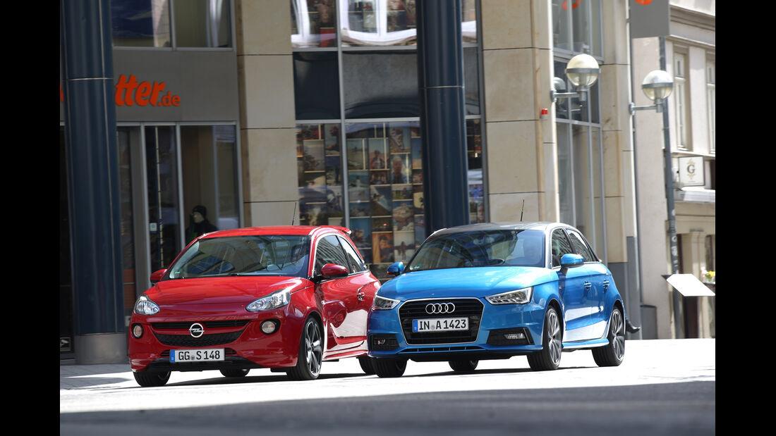 Audi A1 Sportback 1.4 TFSI, Opel Adam S, Frontansicht