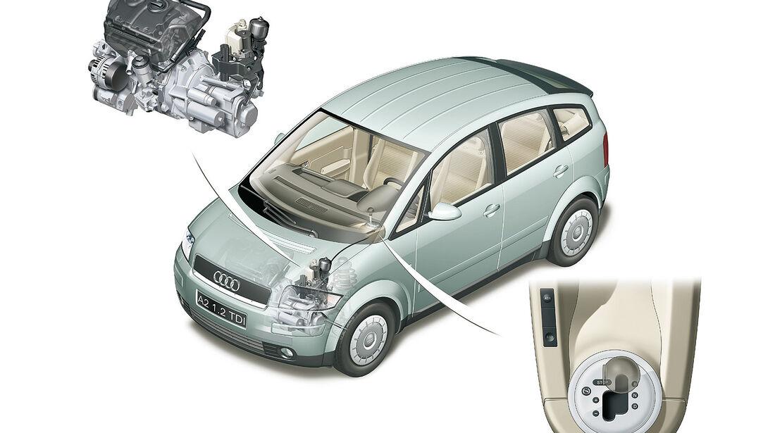 Audi A2, Auto der Woche, Technik Innenleben