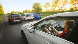 Audi A3 1.5 TFSI S Tronic, BMW 120i AUT, Mercedes A 200 7G-DCT, VW Golf 1.5 TSI DSG, Exterieur