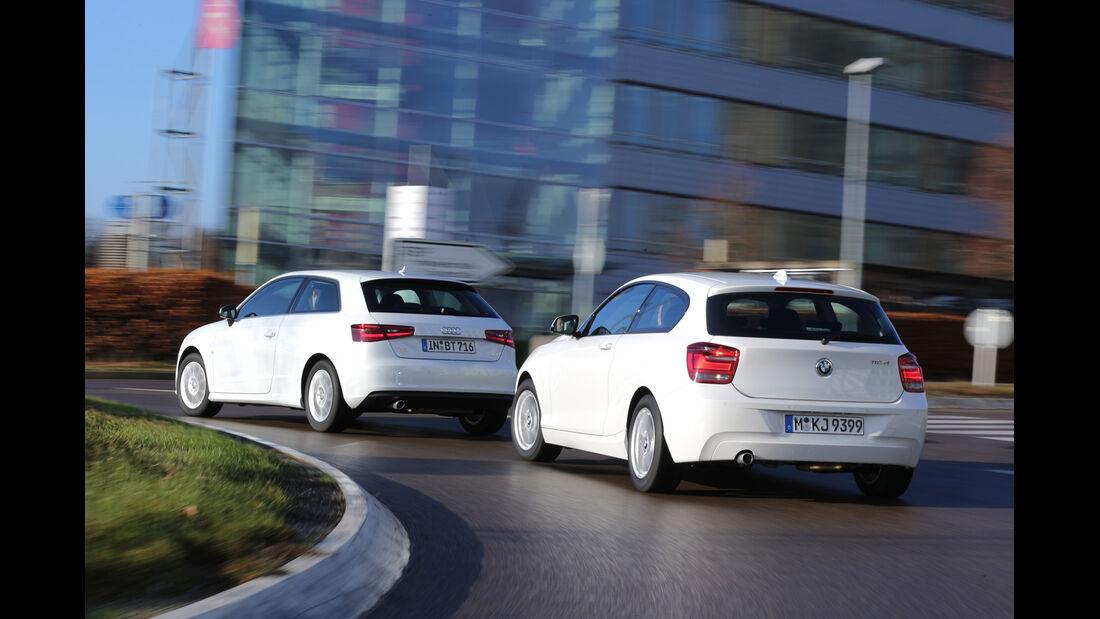 Audi A3 1.6 TDI Ultra, BMW 116d Efficient Dynamics Edition, Heckansicht