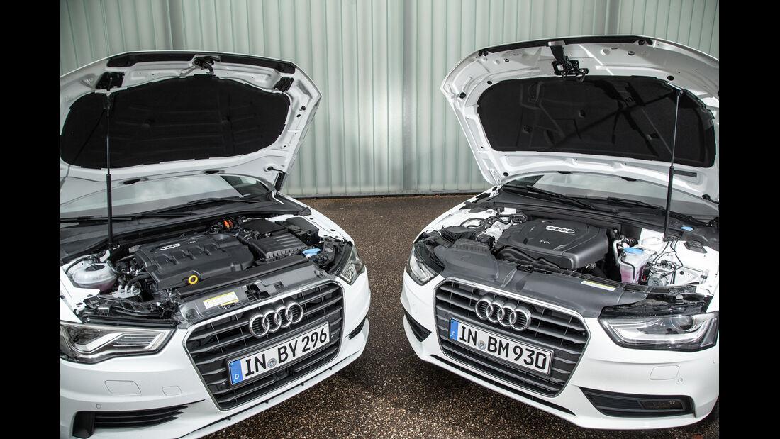 Audi A3 2.0 TDI, Audi A4 2.0 TDI, Motorhaube, Motor