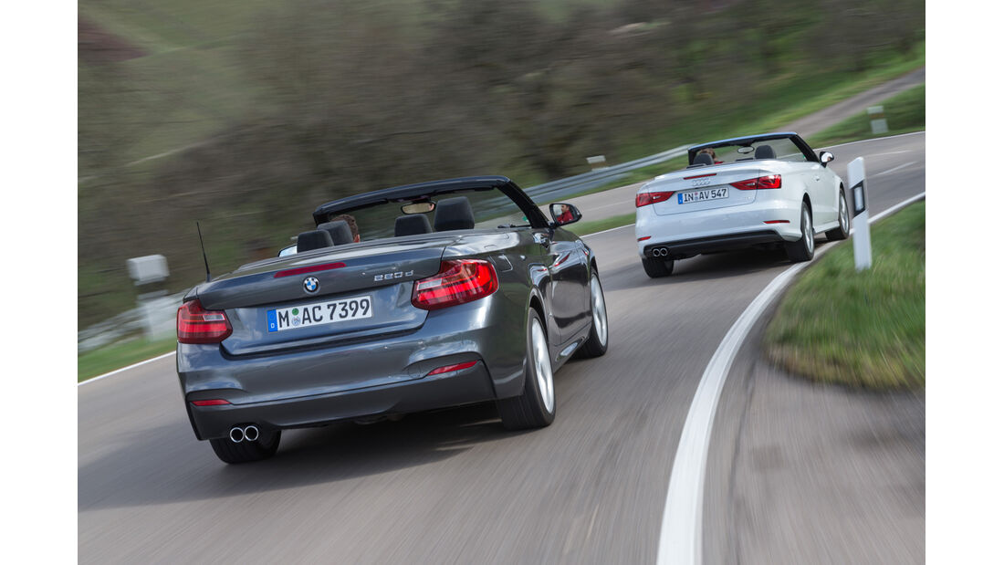 Audi A3 2.0 TDI Cabrio, BMW 220d Cabrio, Heckansicht