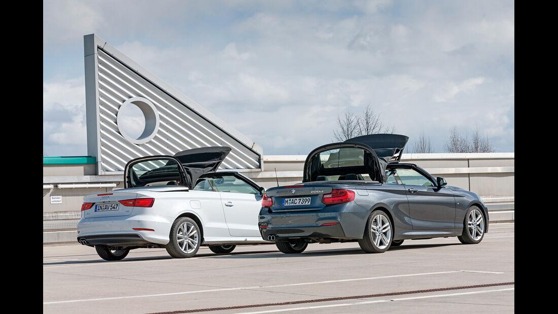 Audi A3 2.0 TDI Cabrio, BMW 220d Cabrio, Verdeck schließt