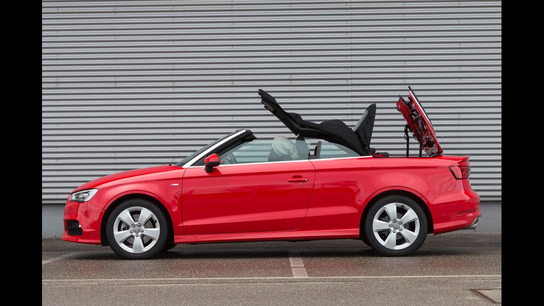 Audi A3 Cabrio 1.8 TFSI, Seitenansicht, Verdeck öffnet