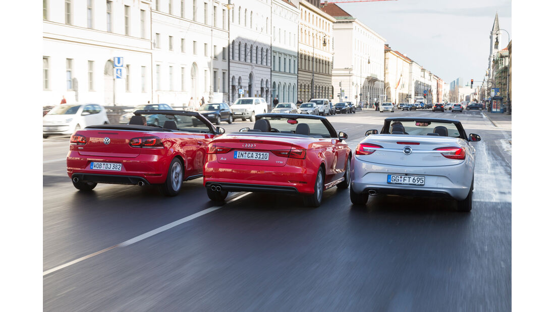 Audi A3 Cabrio, Opel Cascada, VW Golf Cabrio, Heckansicht