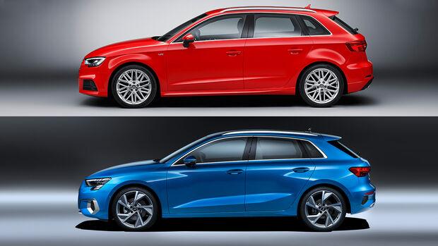Audi A3 Generationen Vergleich Seitenansicht Profil