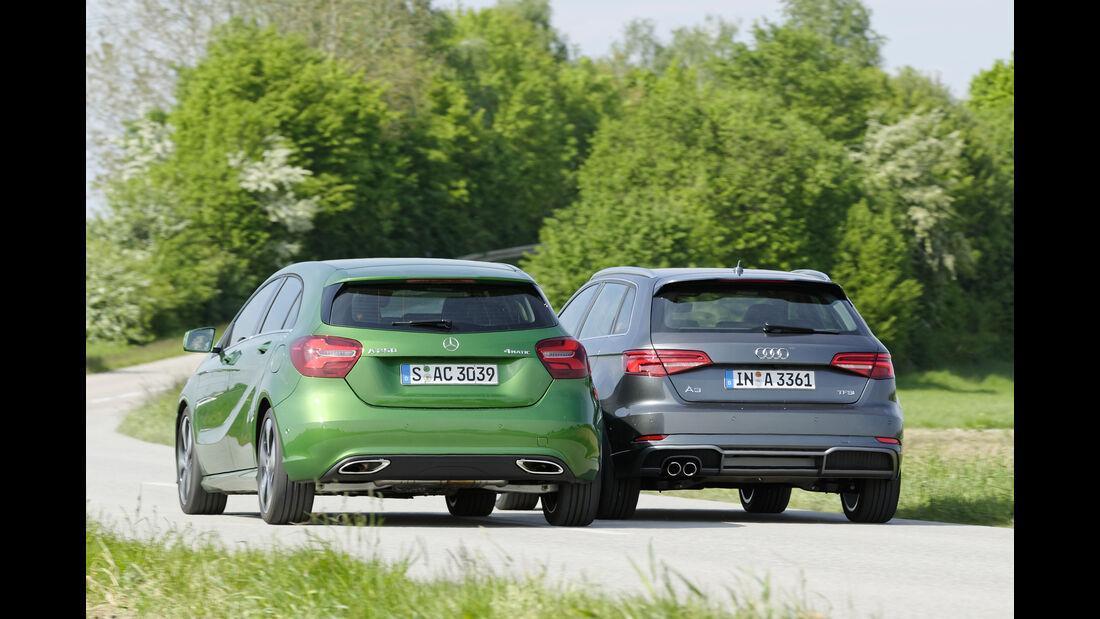 Audi A3, Mercedes A-Klasse, Heckansicht