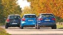 Audi A3 Sportback 1.4 TFSI, BMW 116i, Mercedes A 180, Heckansicht