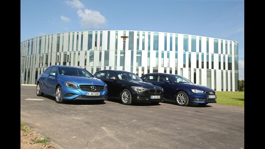 Audi A3 Sportback 1.4 TFSI, BMW 116i, Mercedes A 180, Seitenansicht